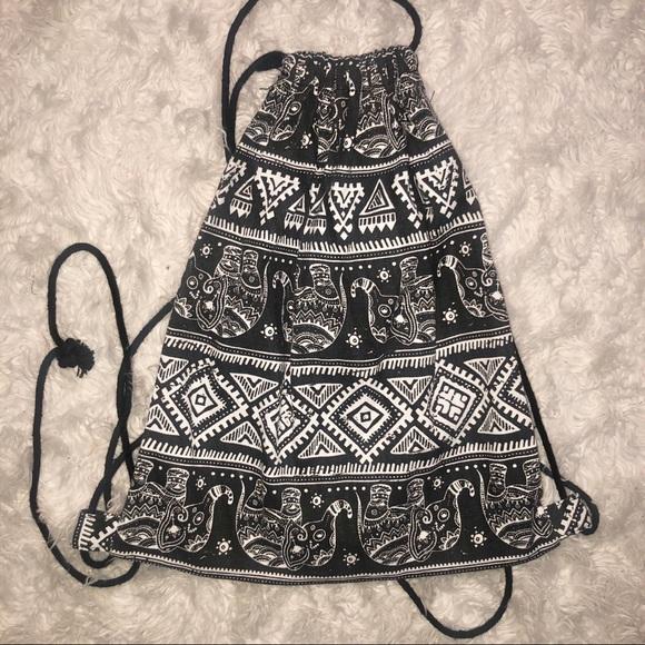 Handbags - Boho Elephant Design Drawstring Backpack Bag